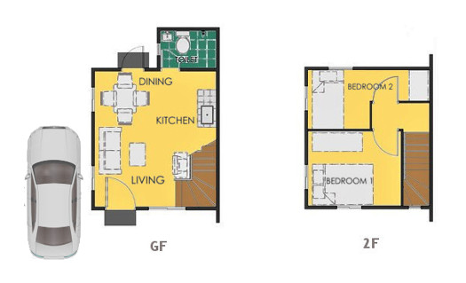 Reva Floor Plan House and Lot in Bay Laguna