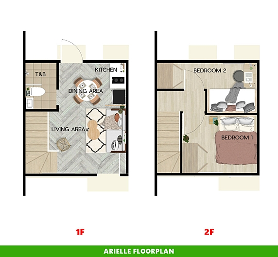 Arielle Floor Plan House and Lot in Bay Laguna