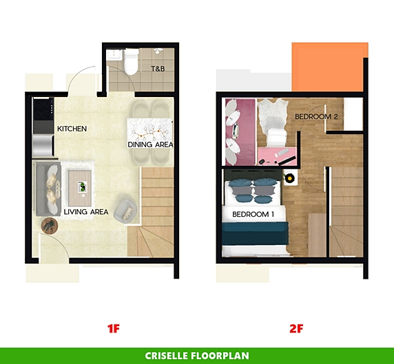 Criselle Floor Plan House and Lot in Bay Laguna