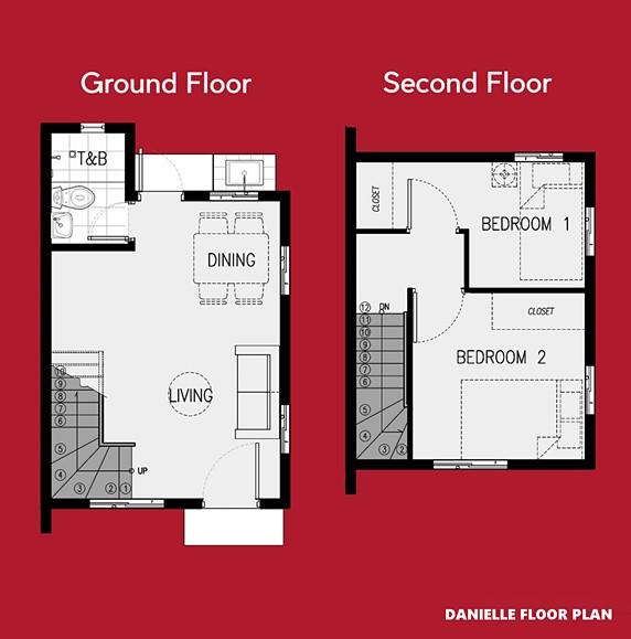 Danielle Floor Plan House and Lot in Bay Laguna