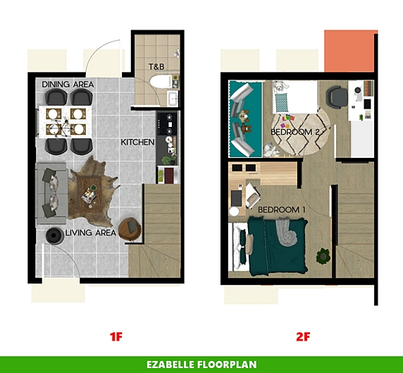 Ezabelle Floor Plan House and Lot in Bay Laguna